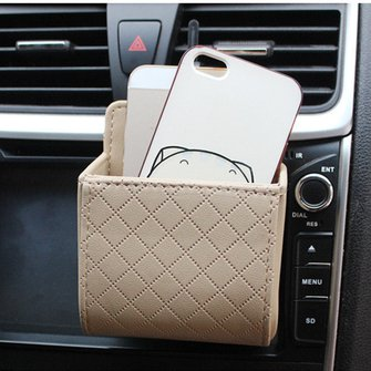 Gray Green Phone Pocket Multi-functional Pouch Car Air Vent Storage Holder Bag