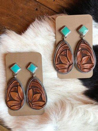 Brown Drop Vintage Turquoise 925 Sterling Silver Earrings