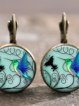 Women Green Jewelry Synthetic Materials Earrings