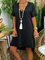 Black Jersey Casual Shift V Neck Dresses