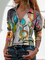 Plus size Printed Long Sleeve Shirts & Tops