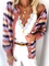 Plus size Striped Casual Long Sleeve Outerwear