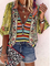 Plus size Hippie Printed Casual Shirts & Tops