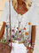 Plus size Floral Printed Short Sleeve Shirts & Tops