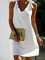 Solid Cotton-Blend Casual V Neck Sleeveless Dresses