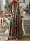 New Women Chic Plus Size Vintage Boho Hippie Shift Holiday Floral 3/4 Sleeve Dresses