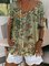Floral  Short Sleeve Printed  Cotton-blend V neck  Vintage  Summer  Beige Top