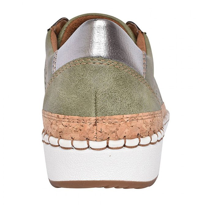 Women Green Slide Hollow-Out Round Toe