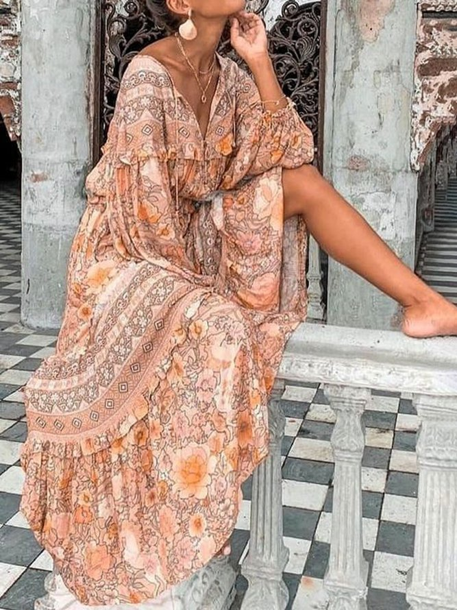 Long Sleeve Boho Cotton Dress...