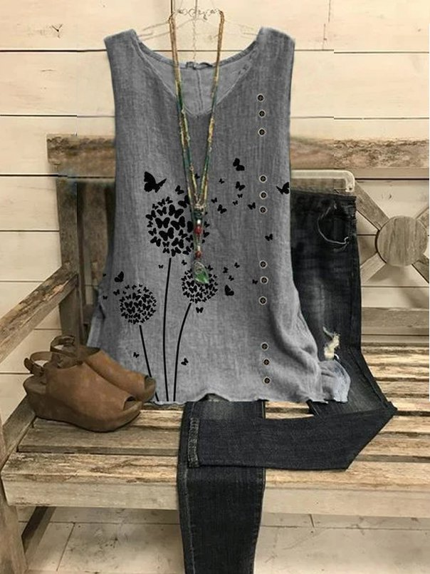 Casual V Neck Floral Shirts &...