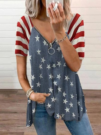 T-shirt with an American flag...