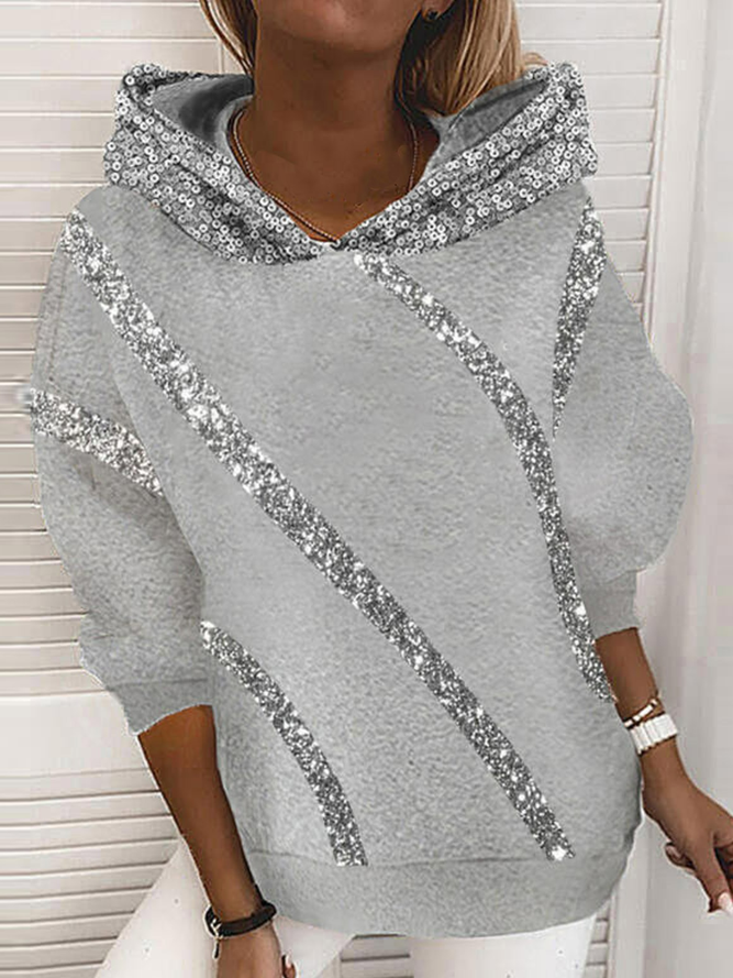 Casual Hoodie Cotton-Blend Sw...