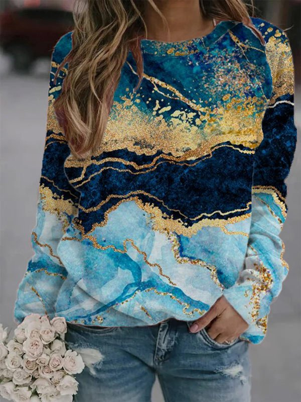 Sleeve Printed Casual Sweatsh...