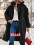 Shawl Collar Buttoned Faux Fur Casual Long Sleeve Coat