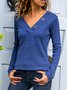 Appliqued Long Sleeve V Neck T-Shirts