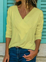 Long Sleeve Cotton V Neck Printed/dyed Women Top
