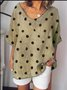 Casual Round Neck Cotton-Blend Polka Dots Tops