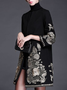 Elegant Long Sleeve Embroidered Trench Coat