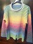 Casual Vintage Crew Neck Knitted Striped Shirts & Tops