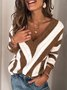 Casual Plus Size Long Sleeve V Neck Geometric Sweater