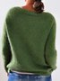 Women Casual Crew Neck Acrylic Long Sleeve Sweaters Pullovers