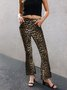 Leopard Casual Paneled Pants