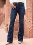 Plus Size Women Plain Denim Casual Pants