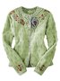 Bohemian Vintage Embroidery Long Sleeve Cotton-Blend Cardigan Sweater
