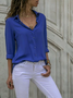 Woman Casual Buttoned Long Sleeve Solid V-Neck Blouse