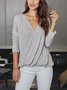 Long Sleeve Paneled Cotton-Blend Shirts & Tops