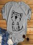 Statement Short Sleeve Vintage Cute Cat Printed Plus Size Casual Tops