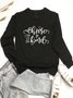 Casual Vintage Letter Printed Plus Size Long Sleeve Sweatshirts Tops