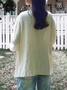 Women Crew Neck 3/4 Sleeve Casual Loose Solid  Shirt Cotton Linen Tops