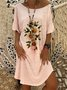 Pink Printed Round Neck Simple Dresses