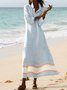 Plus Size Maxi Shirt Dress Pockets Long Sleeve Dresses