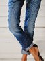 Casual vintage drawstring denim trousers