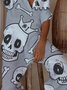 Gray Skull Button Jumpsuits
