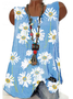 Blue Floral Sleeveless Shift Shirts & Tops