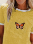 Plus size Crew Neck Butterfly Shirts & Tops