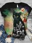 Plus Size Cotton-Blend Crew Neck Short Sleeve Animal Shirts & Tops