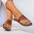 Brown Flat Heel Leather Daily Summer Flats