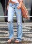 Light Blue Ripped Denim Patchwork Casual Pants