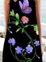 Vintage Sleeveless Boho Floral Butterfly Printed Crew Neck Plus Size Casual Dresses
