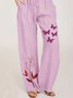 Light Purple Drawstring Cotton Casual Pants