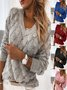 Vintage Plain Cable Three-dimensional Feather Cutout Long Sleeve V Neck Plus Size Casual Sweater