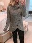 Gray Asymmetric Casual Patchwork Cotton-Blend Sweater