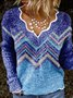 Exotic V Neck Long Sleeve Stripes Sweater