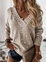 V Neck Long Sleeve Casual Sweater