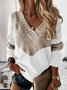 Long Sleeve V Neck Casual Cotton-Blend Sweater