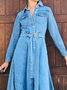 Plus size Denim Casual Long Sleeve Dresses
